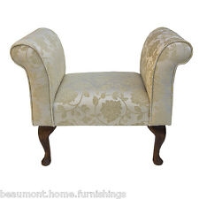 "Compact Settle Chair 31.5"" in a floral Gold Fabric with dark Hardwood Legs"