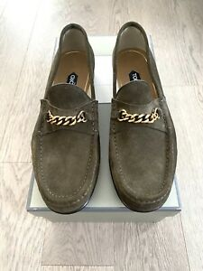 NEW Men Tom Ford Suede York Gold Chain Loafers Green Nubuc 9.5US $950 Retail