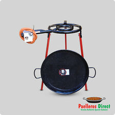 50cm Spanish Enamelled Steel Paella Pan & 35cm Gas Burner Kit / Set - Square Leg