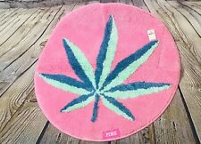 "NEW Victoria's Secret PINK RUG DORM MAT PLUSH COCO CHILL Pink Green 25"" x 25"""