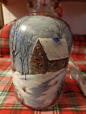 Antique Glass Jug Lamp (Beautiful Shade) Hand-Painted Winter Scene