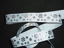 White & Silver Snowflake Christmas Ribbon Cakes Wreaths Decoration 1 Yard