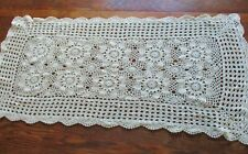 "Crocheted Lace Buffet Piano Table Runner Dresser Scarf Floral Pattern 17"" by 32"""