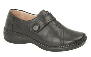 Ladies Extra Wide EEE Fit Touch Fastening Comfy Flat Shoes Black Size 3-9 UK