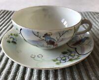 Beautiful Antique Tea Cup and Saucer, NAGOYA NIPPON JAPAN- Bird - Hand Painted
