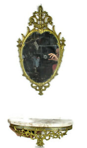 Ornate Demi Lune Console Brass Marble Top Ornate Mirror Hollywood Regency WOW