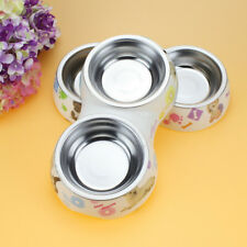 Stainless Steel Double Bowl with Plastic Base Pet Dish Dog Food Feeder Removable