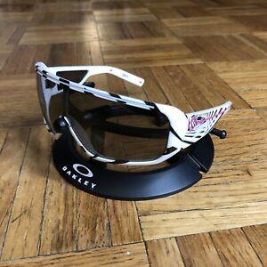Spy Optic Tron Sunglasses White Black Striped 80s Grey Silver Mirrored Lens RARE