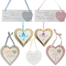 Baby Boy Girl Wooden Heart Plaques New Born Nursery Room Decor Blue Pink Sign