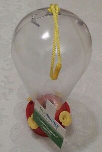 Hummingbird Feeder Clear Red Yellow Sturdy Plastic True Living Outdoor Decor New