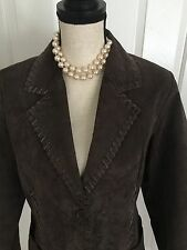 RAMPAGE Chocolate Brown Suede Jacket 100% Leather ~ Women's Size Large ~ Lined