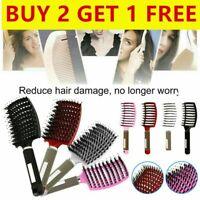 Bristle Nylon Hairbrush Scalp Massage Comb Detangle Hair Brush Salon Barber Tool