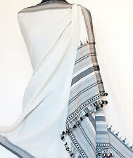 Handcrafted, Large Shawl. Handwoven Wool. White & Black. Hand Loomed in Kutch