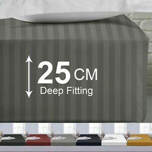 Luxury 100% Microfiber Soft Stripe Fitted Sheet Double King Size 25 CM Bed Sheet
