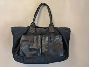 Bottega Veneta Black  Leather trim navy  Canvas Tote duffle weekender Unisex!!