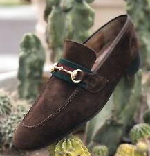 Gucci Vintage Made In Italy Suede Brown Horsebit Loafers Size 10.5 US
