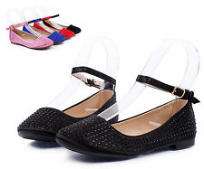 Black nn Blink Cute Buckle Princess Kids Flats Girls Youth Dress Shoes Size 3