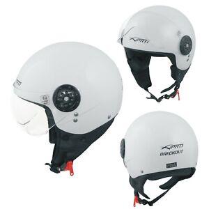 Jet Helmet Open Face Demi Motorbike Scooter Custom Avio Clear Visor White XS