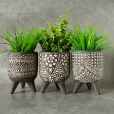 Tribal African Resin Pot Planters On Legs Indoor Outdoor Garden Home Decor