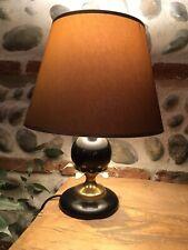 Belle Lampe Bois Noir Metal Laiton Doré Style Lampe Ananas