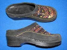 37 Dansko Black Suede Leather Sandals Stocky heel 6.5 7 Ladies Shoe Slip On Wool