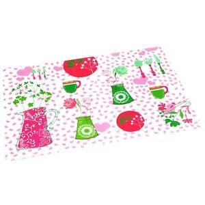 Set 6 Pink Garden PVC Vinyl Table Mats & Coasters BBQ Outdoor Wipe Clean Picnic