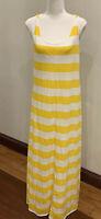 Ripcurl womens maxi dress, size 10. yellow stripe . Cotton/poly.