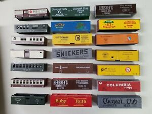 Ho Scale Roundhouse Lot of 21 Painted & Lettered Freight Cars Body Shell