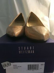 Stuart Weitzman Pumps Camel Taupe Patent Leather Pointed Toe Heels Size 8.5 M