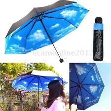 50+ Anti UV Vent Parapluie Parasol Ombrelle Femme 3 Pliant Princesse Bleu Ciel