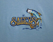 SALTY's HARBORSIDE med sewn logo T shirt Punta Gorda embroidery Florida fish tee