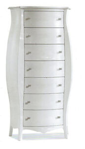 Chest of Drawers 1371 Rounded Lacquered Polished White