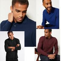 Ex M&S Cotton Long Sleeve Polo Shirt RRP £19.50