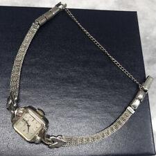 Vintage Ladies HAMILTON 10k Solid White Gold Watch W/ Diamond Accents Runs