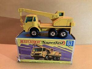 Vintage Matchbox Superfast No. 63 Dodge Crane Truck Yellow With Box