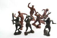 7 Vintage Soviet DZI Plastic Toy Big Soldiers Cave people Neandertha Military