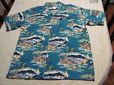 Mens Large L Short Sleeve Hawaiian Shirt Hula Girls Surfing Water Summer Waikiki
