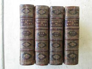 LES OEUVRES DE MOLIERE, 1703. 4 volumes complet avec les gravures.