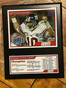 2007 NY Giants Super Bowl XLII Champions ELI MANNING PLAQUE MOUNTED MEMORIES