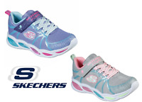 Girls Trainers Skechers Light Up Slip On Strap Sneakers Pink Grey Silver Sparkle