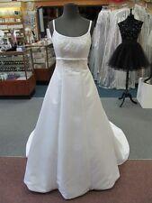8710 MORI LEE WHITE SATIN Bridal Gown Dress w/TRAIN Size 4 $850-ORIG PRICE