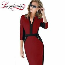 knee Length Patchwork Women Work Dress Tunic Wine Red Bodycon Pencil Dress