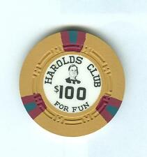 $100 HAROLD'S CLUB CASINO POKER CHIP--PAPPY SMITH SR. #3