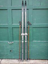 "VINTAGE HICKORY Wooden 80"" Skis Has Dark Finish Signed LAMPINEN + Bamboo Poles"