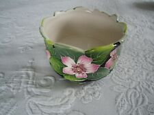 2004 Blue Sky Hand Painted Dogwood Blossoms Footed Dish Bowl Signed J McCall