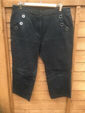 Maine @ Debenhams Navy Cotton Cropped Trousers Size 16. Button Detailing