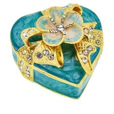 JOAN BOYCE ENAMEL HEART FLOWER TURQUOISE COLOR TRINKET BOX HSN