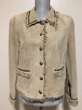 Double D Ranch Beige Suede Fringed And Studded Jacket Women's Medium