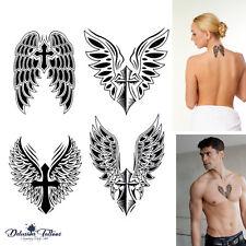ANGEL WINGS CROSS TEMPORARY TATTOO, SET OF 4, CRUCIFIX, BODY ART, MENS, WOMENS