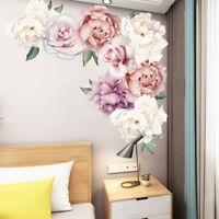 Colorful Peony Rose Flowers Wall Sticker Art Nursery Decals Kids Room Decor DIY